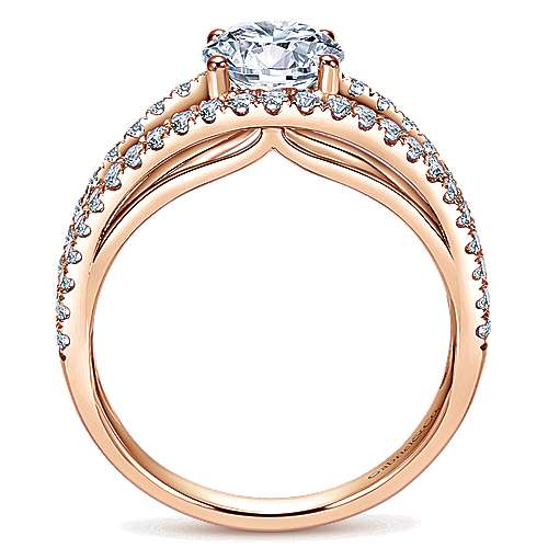 14k Rose Gold Round Split Shank Engagement Ring angle 2