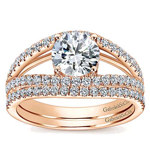 14k Rose Gold Round Split Shank Engagement Ring angle 4