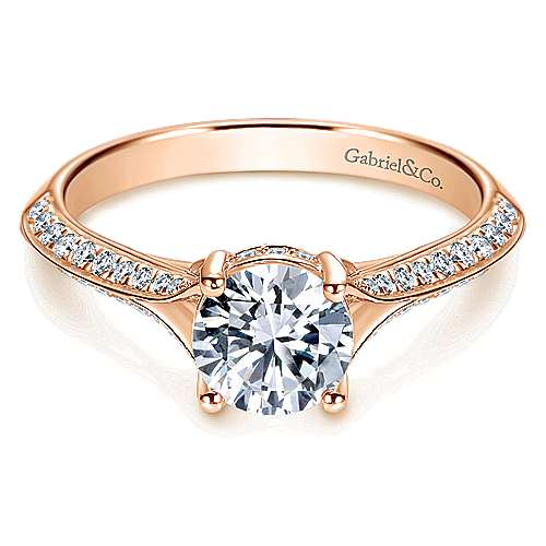 14k Rose Gold Round Straight Engagement Ring angle 1