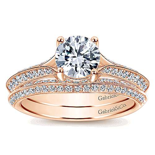14k Rose Gold Round Straight Engagement Ring angle 4