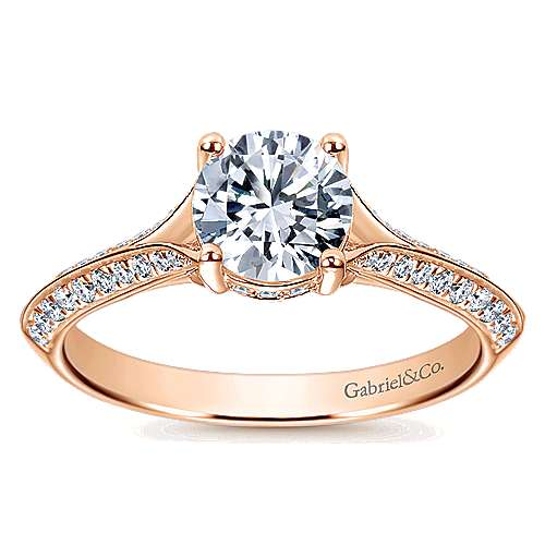 14k Rose Gold Round Straight Engagement Ring angle 5