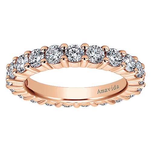 14k Rose Gold Shared Prong Eternity Band