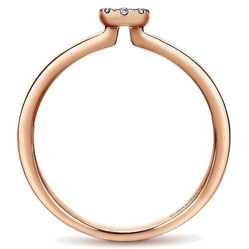 14k Rose Gold Silk Fashion Ladies' Ring angle 2