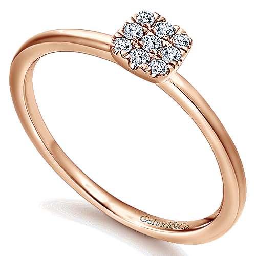 14k Rose Gold Silk Fashion Ladies' Ring angle 3