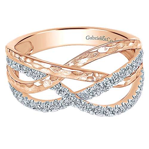 14k Rose Gold Souviens Twisted Ladies' Ring angle 1