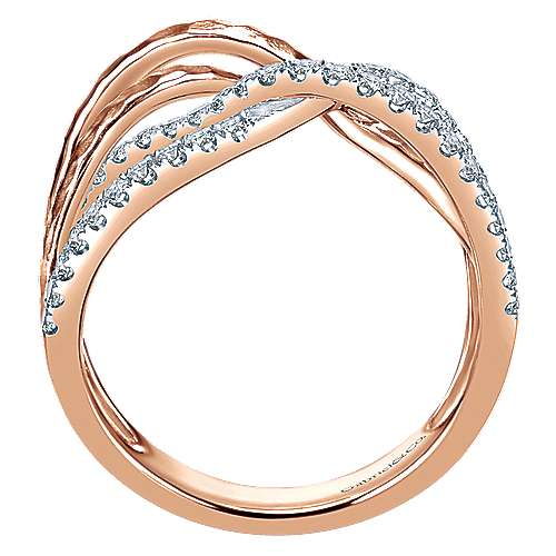 14k Rose Gold Souviens Wide Band Ladies' Ring angle 2