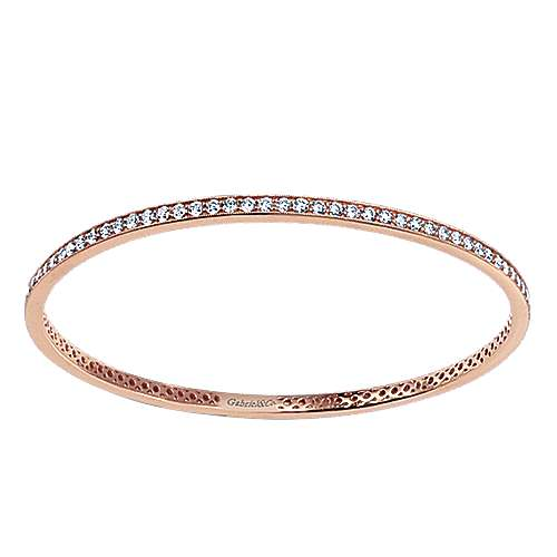 14k Rose Gold Stackable Bangle angle 1