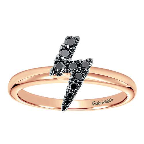 14k Rose Gold Stackable Fashion Ladies' Ring angle 4