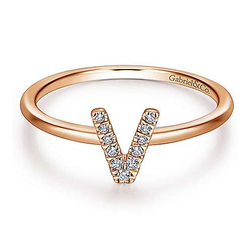 14k Rose Gold Stackable Initial Ladies' Ring angle 1