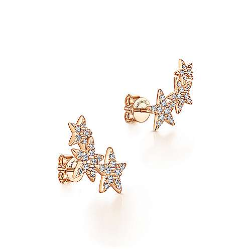 14k Rose Gold Starlis Stud Earrings angle 2