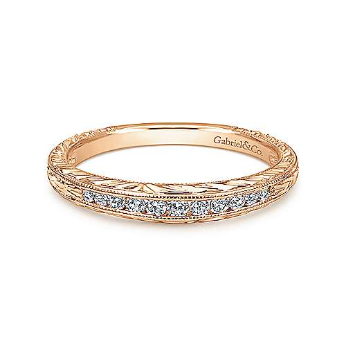 Gabriel - 14k Rose Gold Victorian Curved Wedding Band