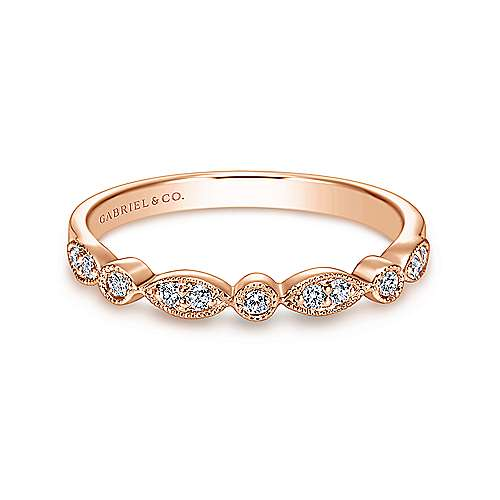 14k Rose Gold Victorian Curved Wedding Band