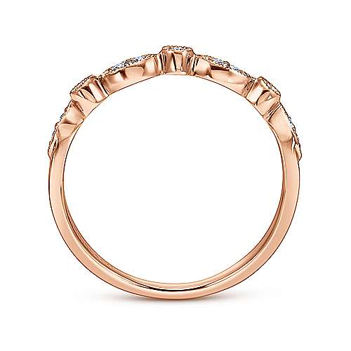 14k Rose Gold Victorian Curved Wedding Band angle 2