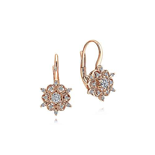 14k Rose Gold Victorian Drop Earrings angle 1