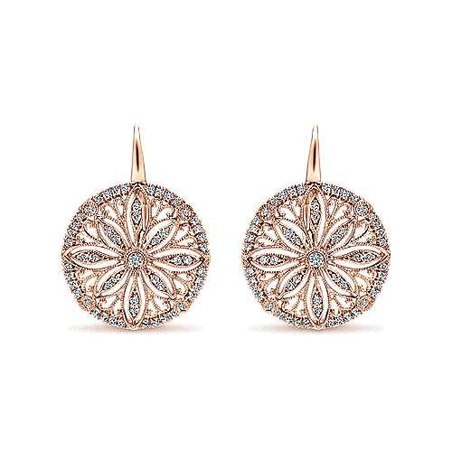 14k Rose Gold Victorian Drop Earrings