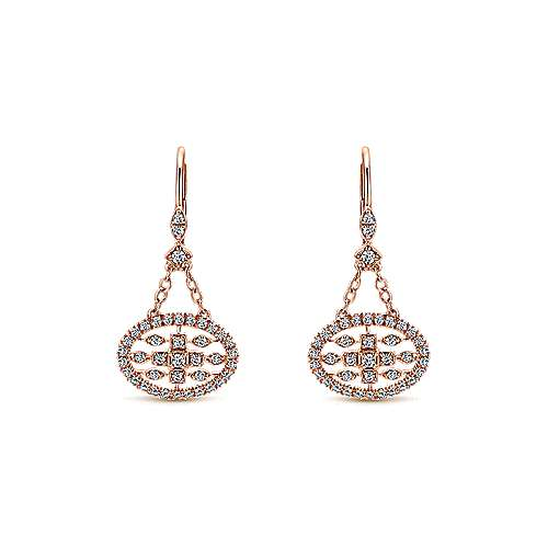 Gabriel - 14k Rose Gold Victorian Drop Earrings