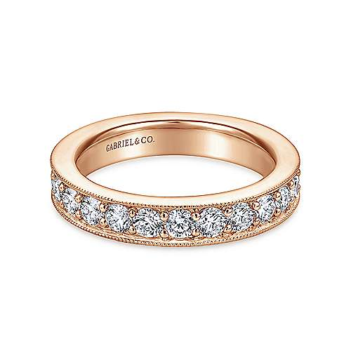 14k Rose Gold Victorian Eternity Band Anniversary Band angle 1