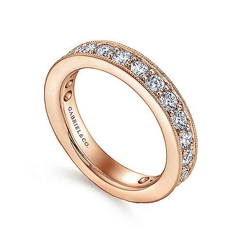 14k Rose Gold Victorian Eternity Band Anniversary Band angle 3