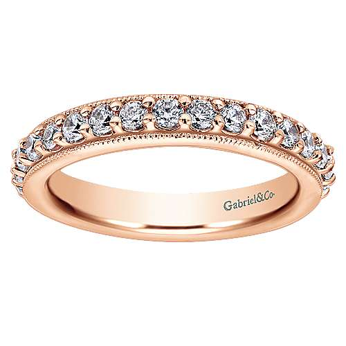 14k Rose Gold Victorian Eternity Band Anniversary Band angle 5