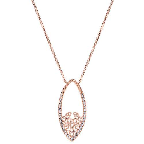 14k Rose Gold Victorian Fashion Necklace angle 1