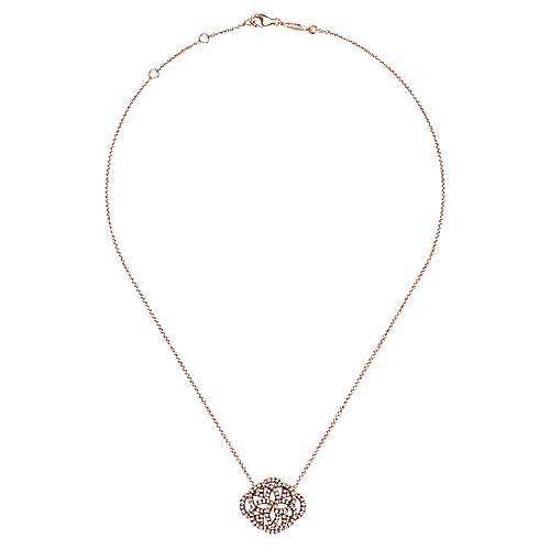14k Rose Gold Victorian Fashion Necklace angle 2