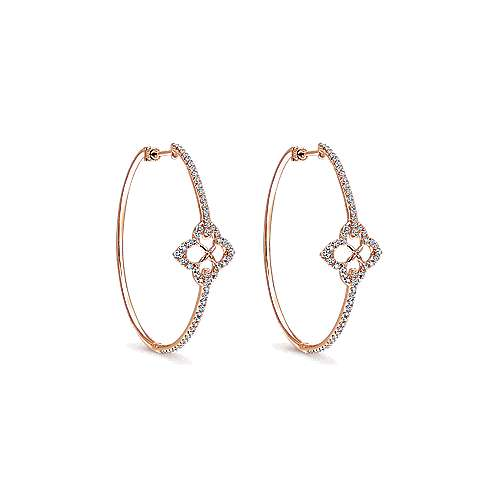 14k Rose Gold Victorian Intricate Hoop Earrings angle 1
