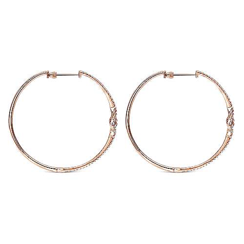 14k Rose Gold Victorian Intricate Hoop Earrings angle 2