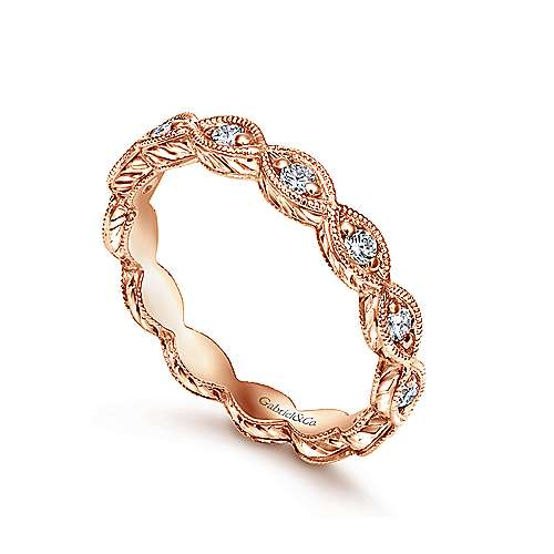 14k Rose Gold Victorian Midi Ladies' Ring angle 3