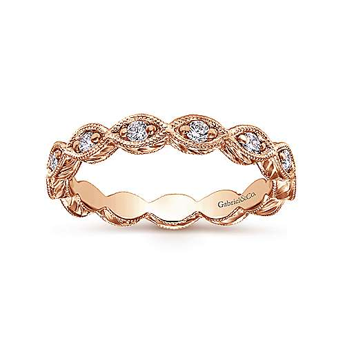 14k Rose Gold Victorian Midi Ladies' Ring angle 4