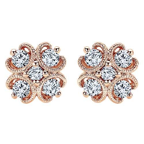 14k Rose Gold Victorian Stud Earrings