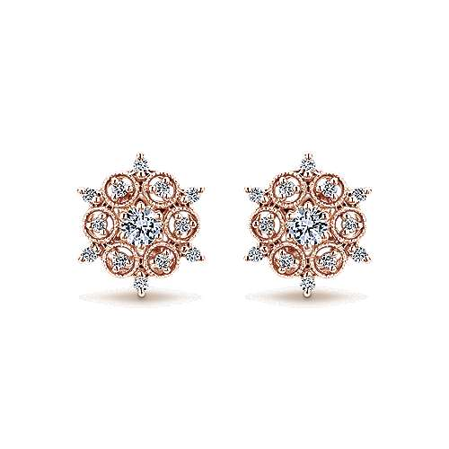 Gabriel - 14k Rose Gold Victorian Stud Earrings
