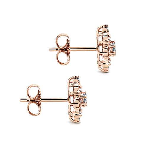 14k Rose Gold Victorian Stud Earrings angle 3