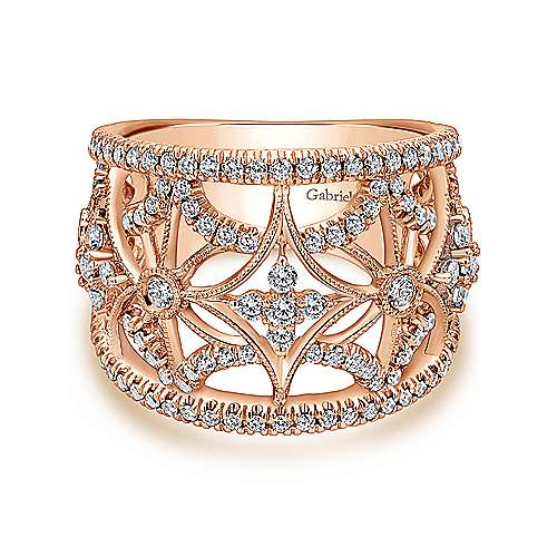 14k Rose Gold Victorian Wide Band Ladies