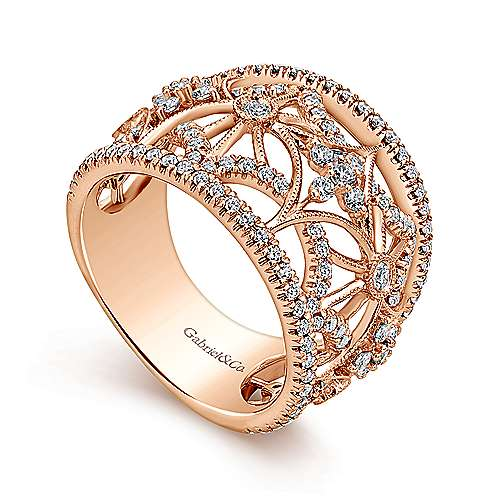 14k Rose Gold Victorian Wide Band Ladies' Ring angle 3