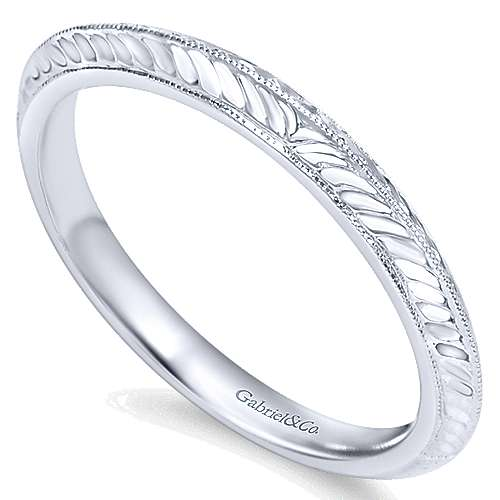 14k, W Gold Wedding Band angle 3