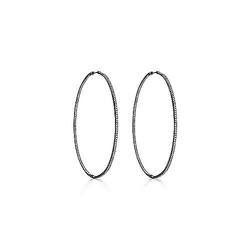 14k W W And Black Rhodium Contemporary Inside Out Diamond Hoop Earrings angle 1