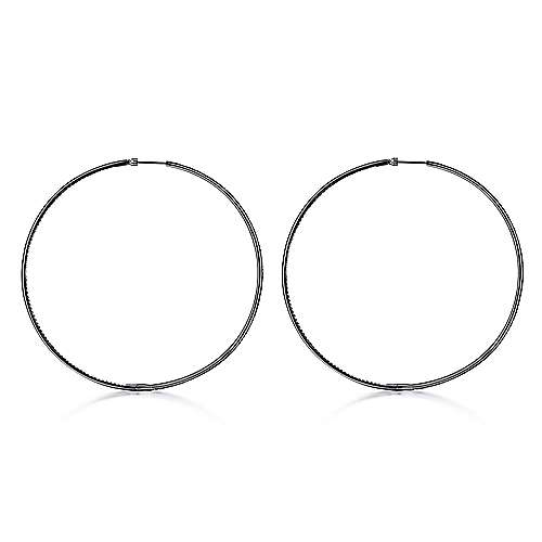 14k W W And Black Rhodium Contemporary Inside Out Diamond Hoop Earrings angle 2