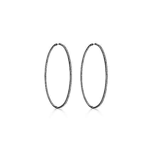 14k W W And Black Rhodium Hoops Classic Hoop Earrings angle 1