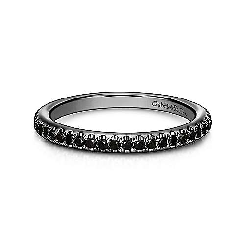 14k W W And Black Rhodium Stackable Ladies' Ring