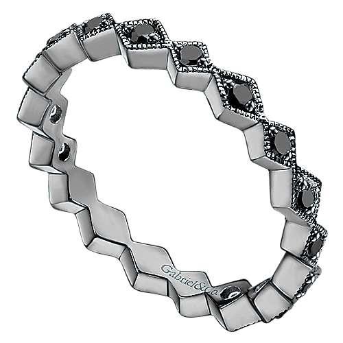 14k W W/black Rhodium Black Diamond Stackable Ladies