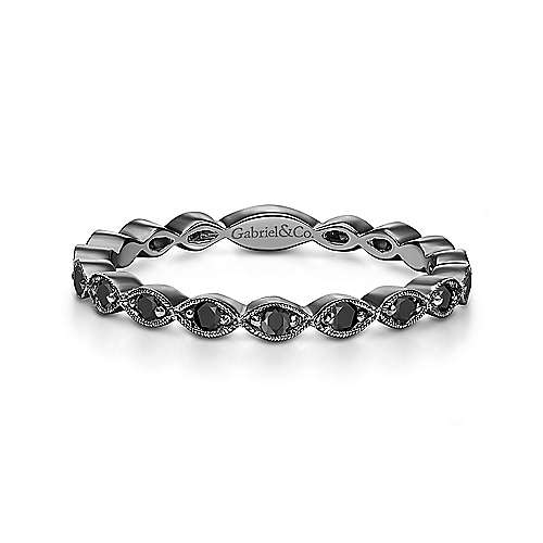 Gabriel - 14k W W/black Rhodium Stackable Ladies' Ring