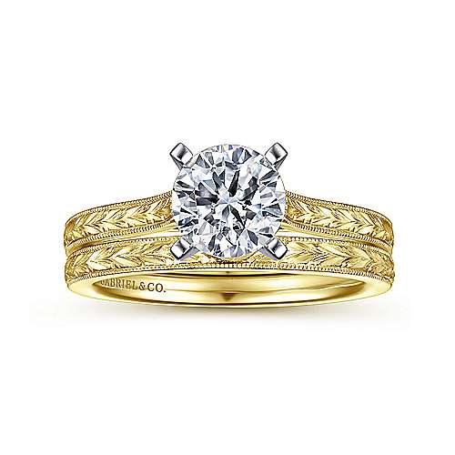 14k, W/Y Gold  Eng Ring angle 4