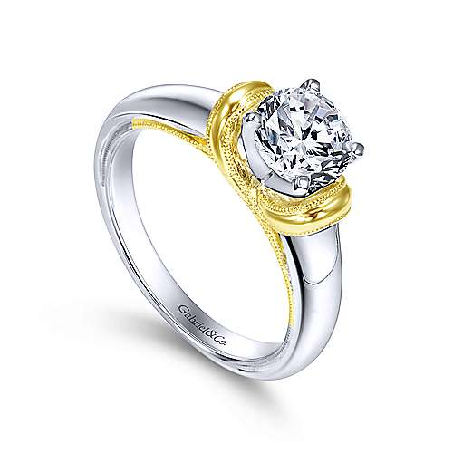 14k, W/Y Gold Engag. Ring angle 3