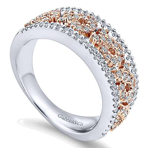 14k White And Rose Gold Care Collection Fashion Ladies' Ring angle 3