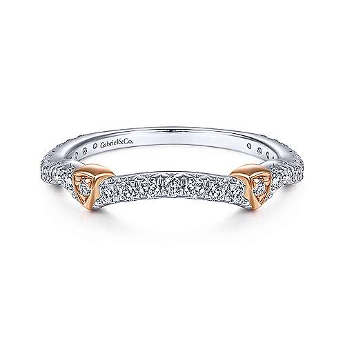 Gabriel - 14k White And Rose Gold Contemporary Curved Wedding Band