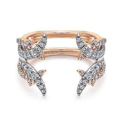 14k white and rose gold contemporary enhancer anniversary band angle 1 - Wedding Ring Enhancers