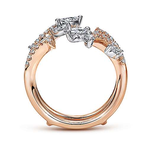 14k White And Rose Gold Contemporary Enhancer Anniversary Band angle 2