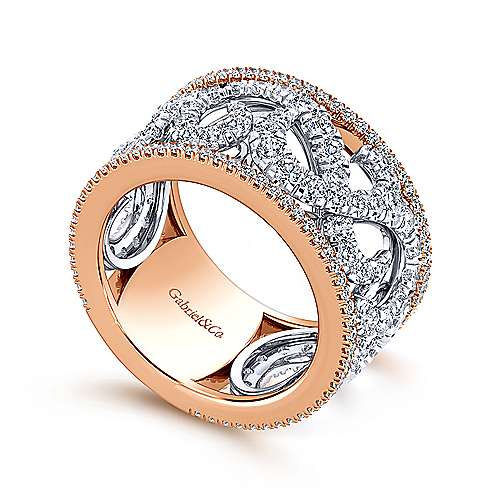 14k white and rose gold contemporary fancy anniversary band angle 3 - Fancy Wedding Rings