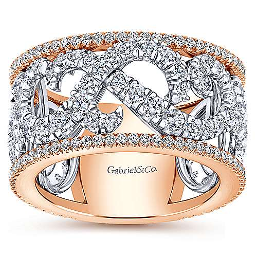 14k White And Rose Gold Contemporary Fancy Anniversary Band