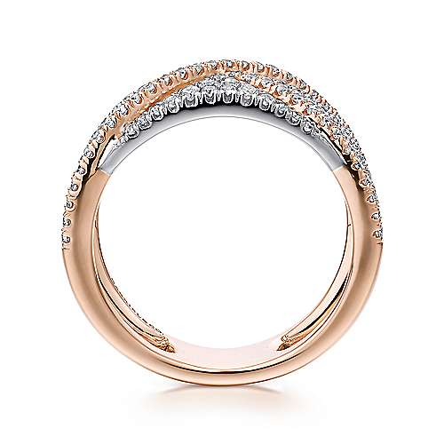 14k white and rose gold contemporary fancy anniversary band angle 2 - Fancy Wedding Rings